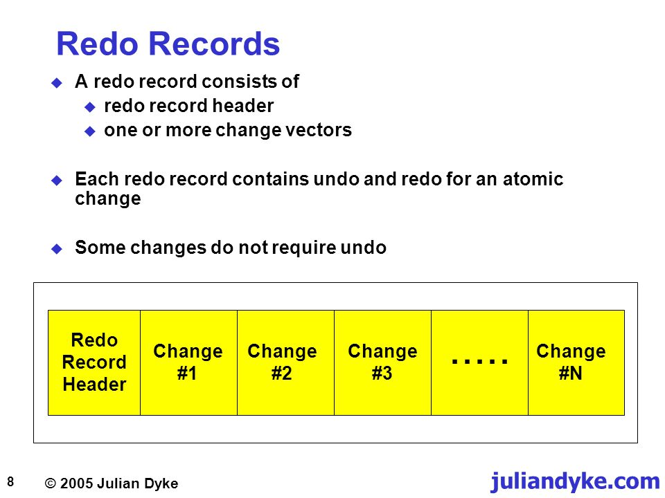 © 2005 Julian Dyke juliandyke.com 29 Single Row Update Redo Statements COMMIT 5.4 REDO #3 UNDO #3 11.5 5.1 UNDO #2 REDO #2 5.1 11.5 REDO #1 UNDO #1 HEADER 11.5 5.1 5.2 COMMIT; -- Statement #1 UPDATE t1 SET c2 = c2 + 1 WHERE c1 = 1; -- Statement #2 UPDATE t1 SET c2 = c2 + 1 WHERE c1 = 2; -- Statement #3 UPDATE t1 SET c2 = c2 + 1 WHERE c1 = 3;