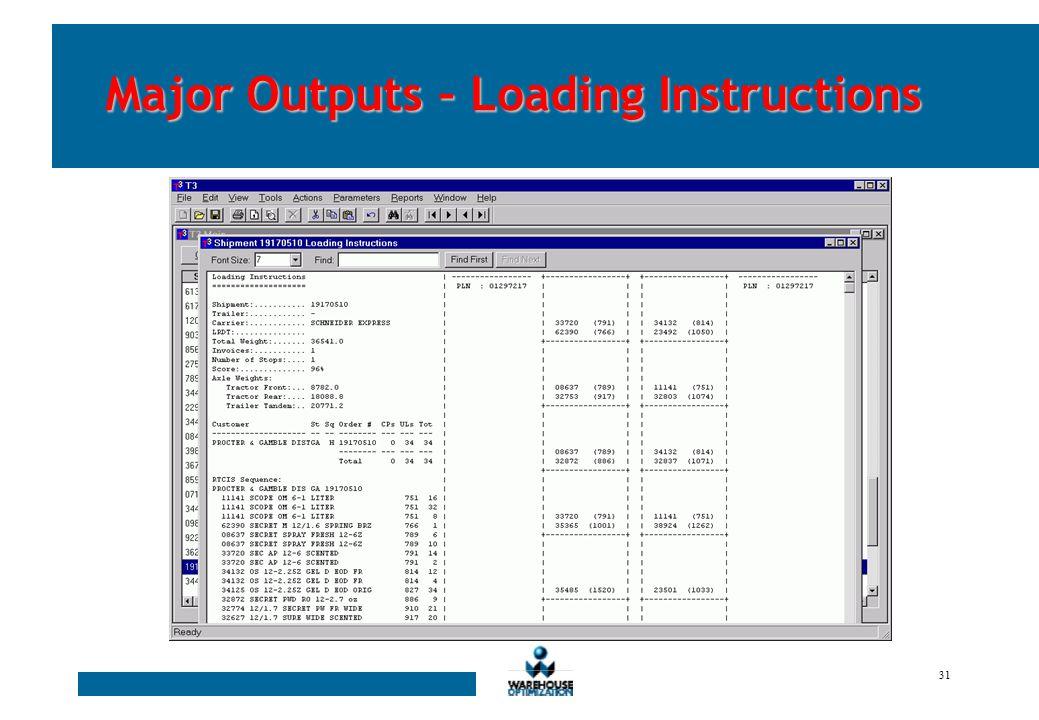 30 Major Outputs – Trailer Load Profile