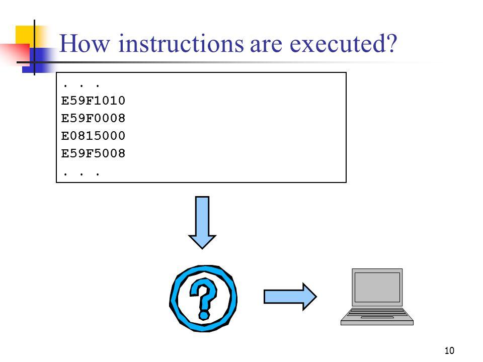 10 How instructions are executed ... E59F1010 E59F0008 E0815000 E59F5008...