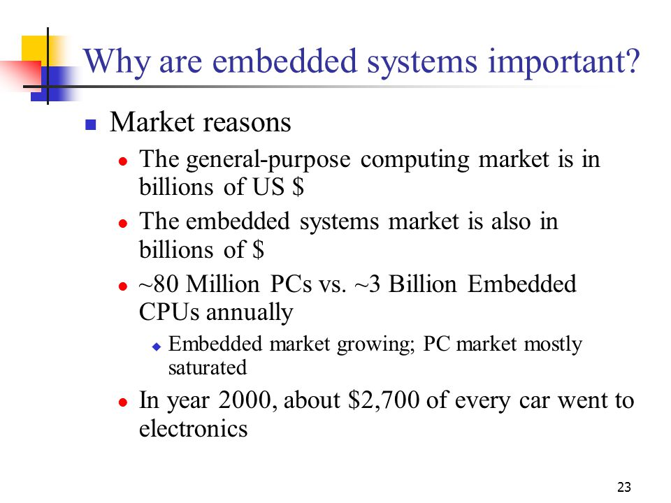 23 Why are embedded systems important.
