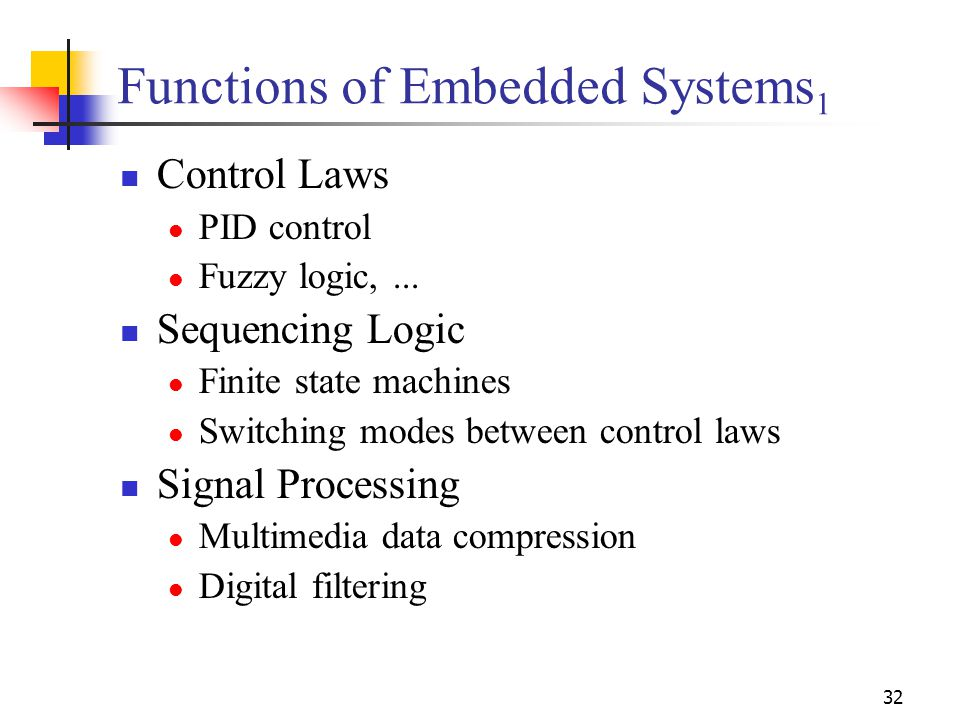 32 Functions of Embedded Systems 1 Control Laws PID control Fuzzy logic,...