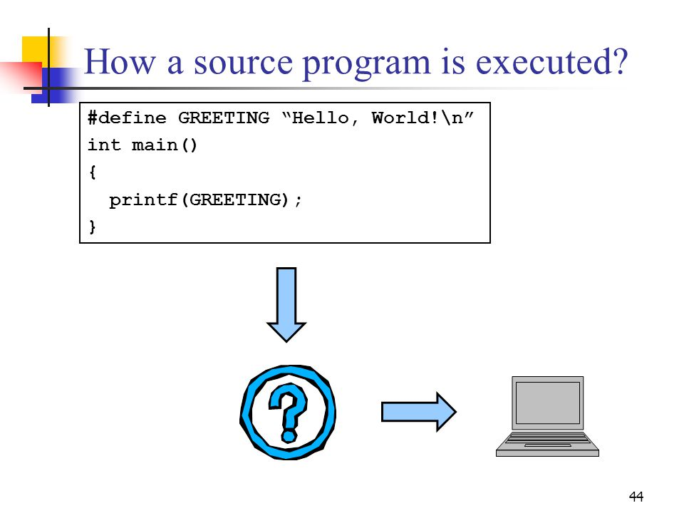 44 How a source program is executed.