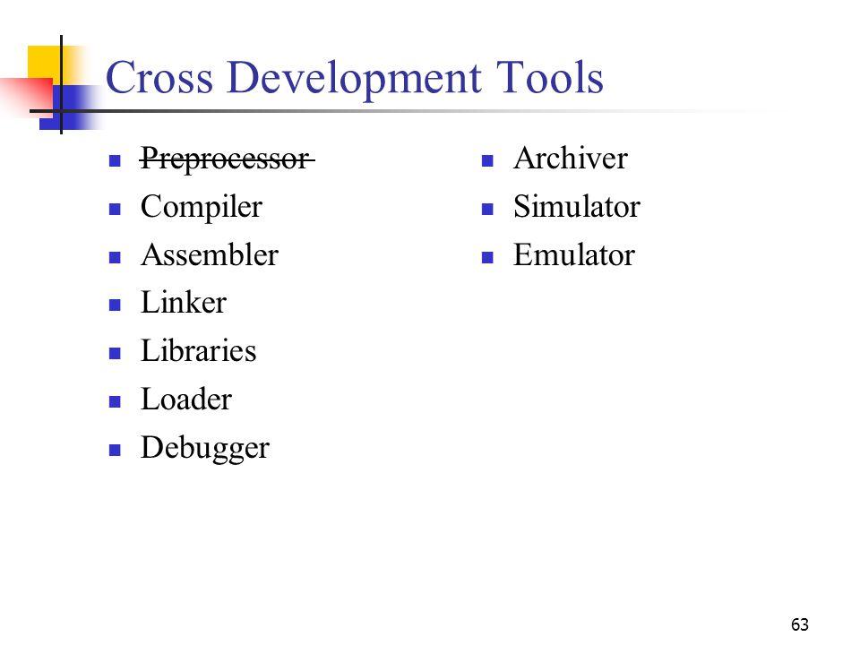 63 Cross Development Tools Preprocessor Compiler Assembler Linker Libraries Loader Debugger Archiver Simulator Emulator