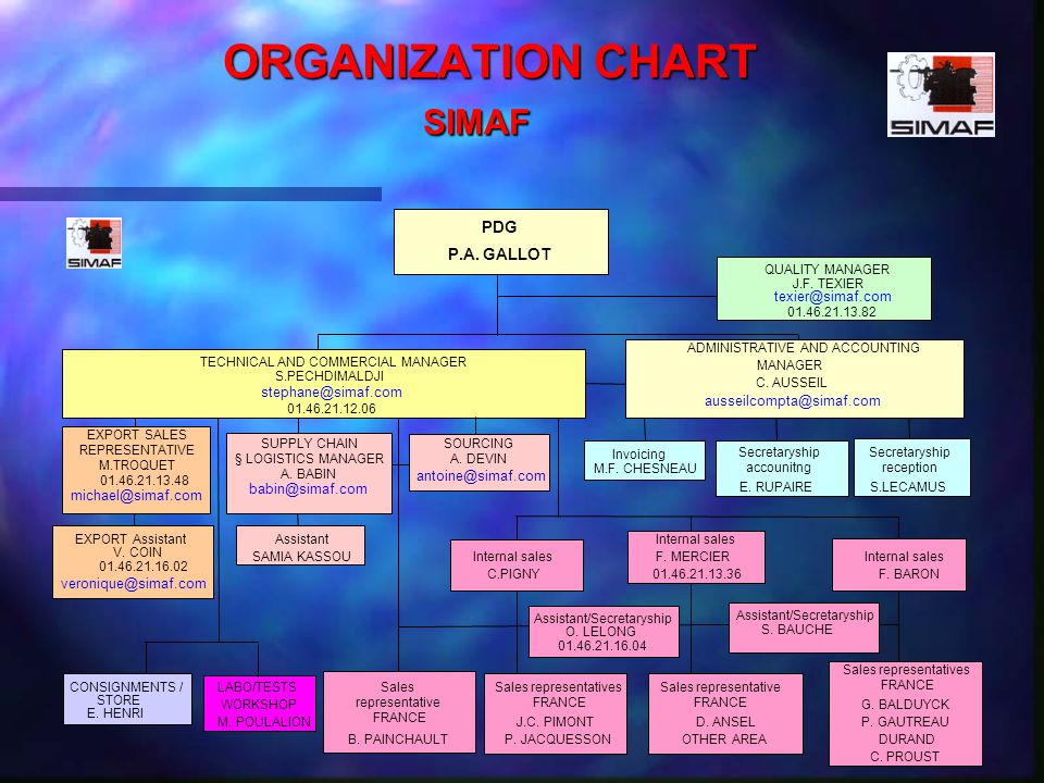 ORGANIZATION CHART SIMAF ORGANIZATION CHART SIMAF