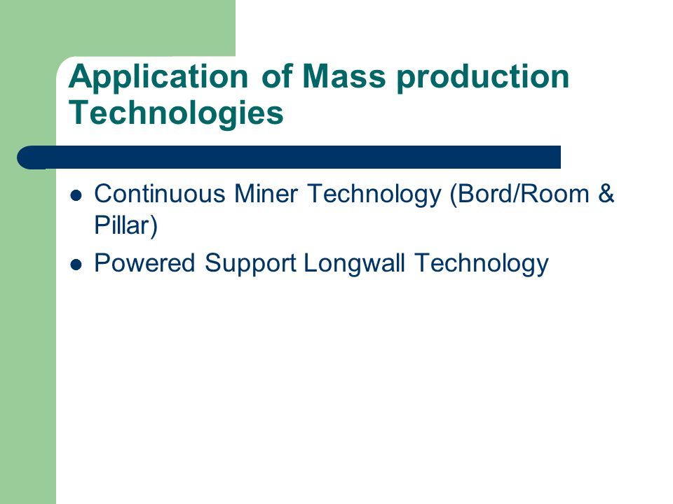 Renewed Focus on Underground Mining Aiming from 10% to 30% coal production by 2030 Introduction of Mass-production Technology in large scale Sharing of specific technology with other countries Focusing on Specific R&D projects