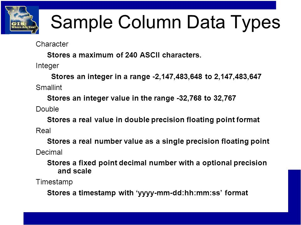 Sample Column Data Types Character Stores a maximum of 240 ASCII characters. Integer Stores an integer in a range -2,147,483,648 to 2,147,483,647 Smal