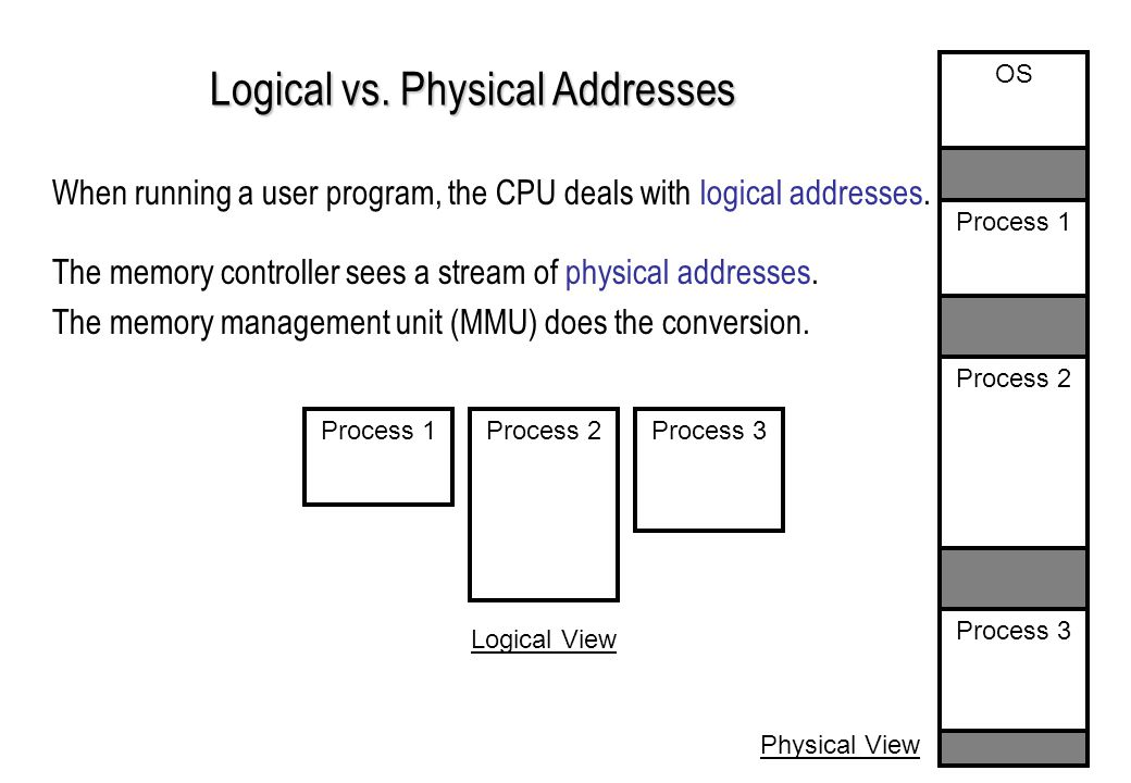 Logical vs. Physical Addresses When running a user program, the CPU deals with logical addresses.