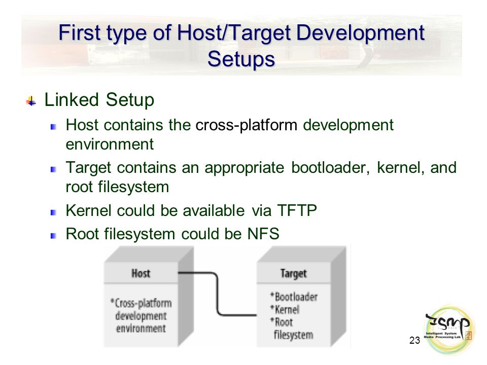 23 First type of Host/Target Development Setups Linked Setup Host contains the cross-platform development environment Target contains an appropriate bootloader, kernel, and root filesystem Kernel could be available via TFTP Root filesystem could be NFS