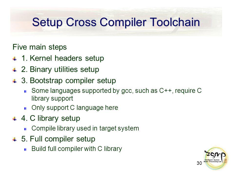 30 Setup Cross Compiler Toolchain Five main steps 1.