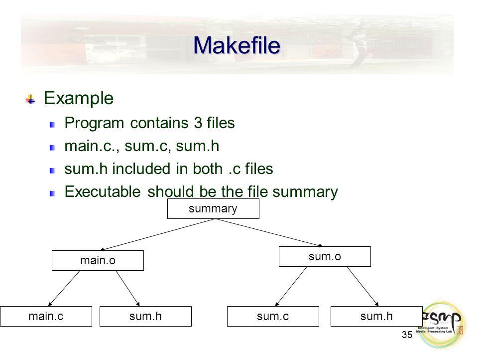 35 Makefile Example Program contains 3 files main.c., sum.c, sum.h sum.h included in both.c files Executable should be the file summary summary sum.o main.o sum.csum.h main.c