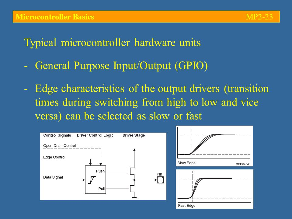 Typical microcontroller hardware units -General Purpose Input/Output (GPIO) -Edge characteristics of the output drivers (transition times during switching from high to low and vice versa) can be selected as slow or fast Microcontroller BasicsMP2-23