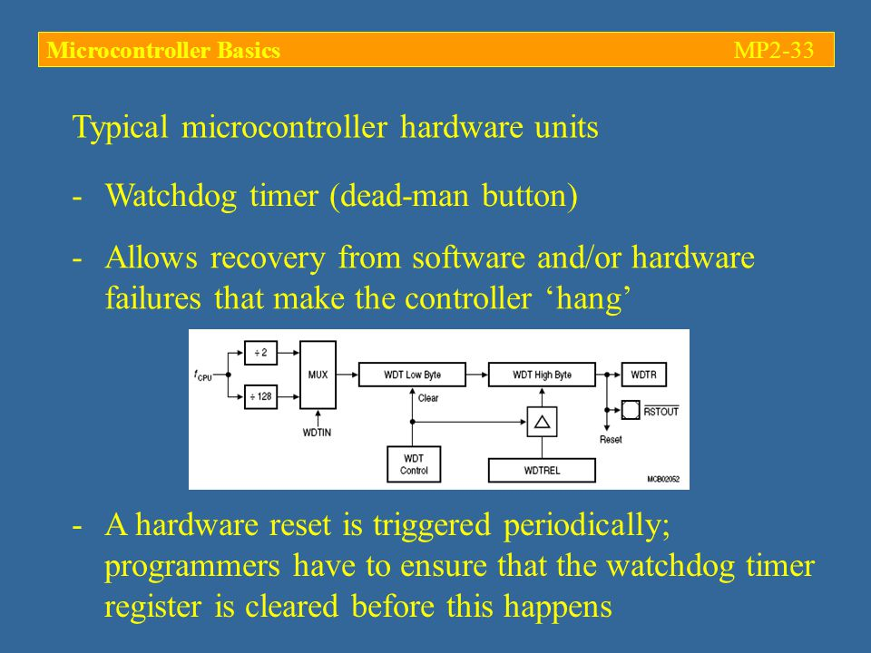 Typical microcontroller hardware units -Watchdog timer (dead-man button) -Allows recovery from software and/or hardware failures that make the controller 'hang' -A hardware reset is triggered periodically; programmers have to ensure that the watchdog timer register is cleared before this happens Microcontroller BasicsMP2-33