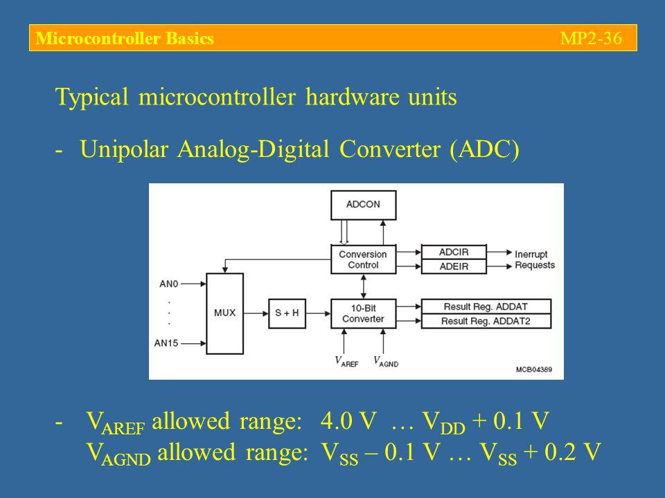 Typical microcontroller hardware units -Unipolar Analog-Digital Converter (ADC) - V AREF allowed range:4.0 V … V DD + 0.1 V V AGND allowed range:V SS – 0.1 V … V SS + 0.2 V Microcontroller BasicsMP2-36
