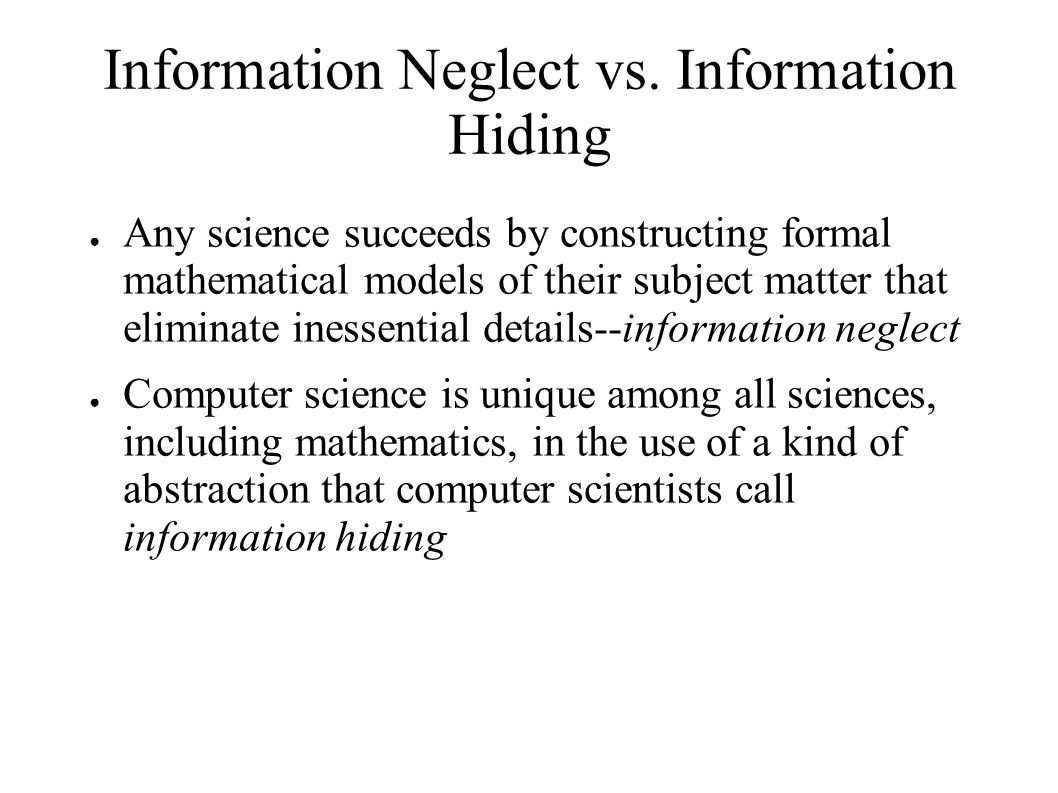 Information Neglect vs.
