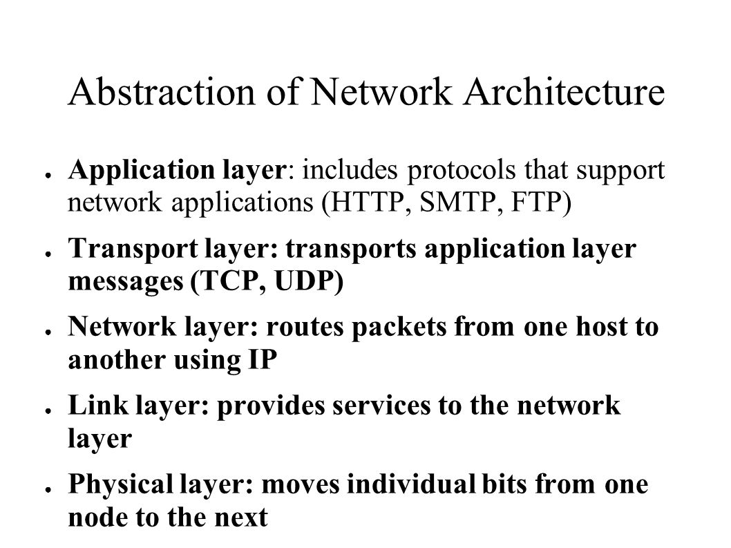 Abstraction of Network Architecture ● Application layer: includes protocols that support network applications (HTTP, SMTP, FTP) ● Transport layer: transports application layer messages (TCP, UDP) ● Network layer: routes packets from one host to another using IP ● Link layer: provides services to the network layer ● Physical layer: moves individual bits from one node to the next