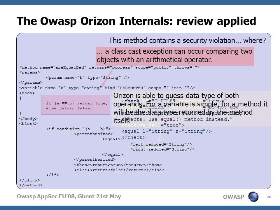 OWASP Owasp AppSec EU'08, Ghent 21st May { if (a == b) return true; else return false; } true false The Owasp Orizon Internals: review applied 26 This method contains a security violation...