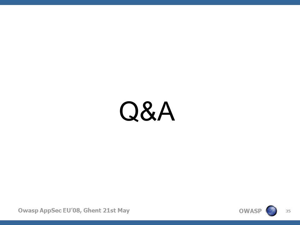 OWASP Owasp AppSec EU'08, Ghent 21st May 35 Q&A