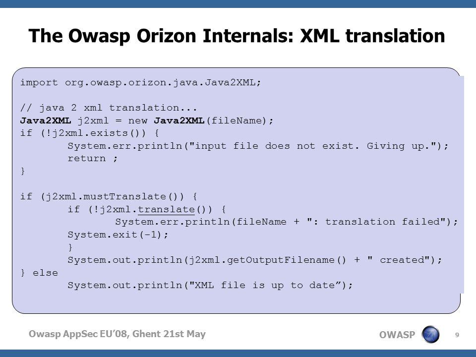 OWASP Owasp AppSec EU'08, Ghent 21st May The Owasp Orizon Internals: XML translation 9 import org.owasp.orizon.java.Java2XML; // java 2 xml translation...