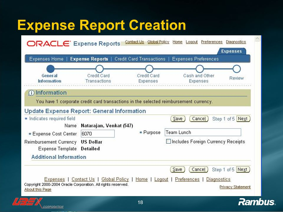 18 Expense Report Creation