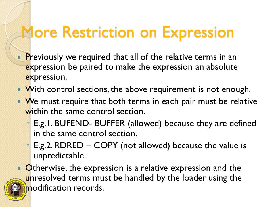 More Restriction on Expression Previously we required that all of the relative terms in an expression be paired to make the expression an absolute exp