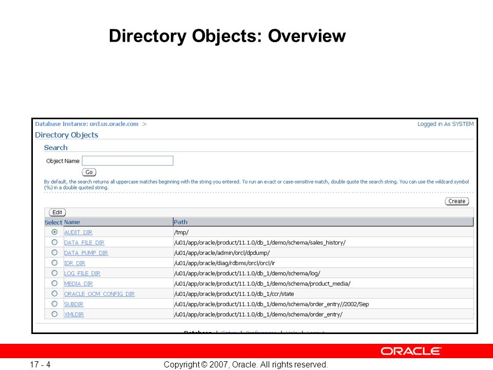Copyright © 2007, Oracle. All rights reserved. 17 - 5 Creating Directory Objects 4 3 2 1 5