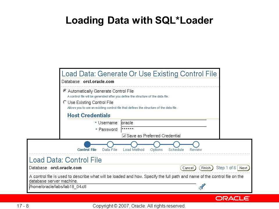Copyright © 2007, Oracle. All rights reserved. 17 - 8 Loading Data with SQL*Loader