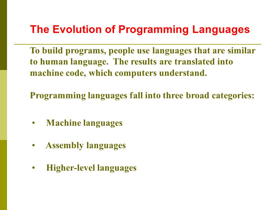 Machine languages Assembly languages Higher-level languages To build programs, people use languages that are similar to human language.