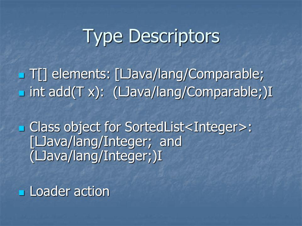 Type Descriptors T[] elements: [LJava/lang/Comparable; T[] elements: [LJava/lang/Comparable; int add(T x): (LJava/lang/Comparable;)I int add(T x): (LJava/lang/Comparable;)I Class object for SortedList : [LJava/lang/Integer; and (LJava/lang/Integer;)I Class object for SortedList : [LJava/lang/Integer; and (LJava/lang/Integer;)I Loader action Loader action