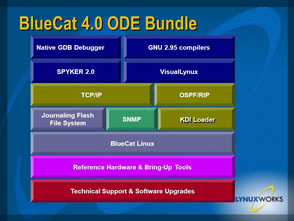 BlueCat 4.0 ODE Bundle Reference Hardware & Bring-Up Tools BlueCat Linux Journaling Flash File System SNMP TCP/IPOSPF/RIP Technical Support & Software Upgrades Native GDB Debugger SPYKER 2.0 GNU 2.95 compilers VisualLynux KDI Loader