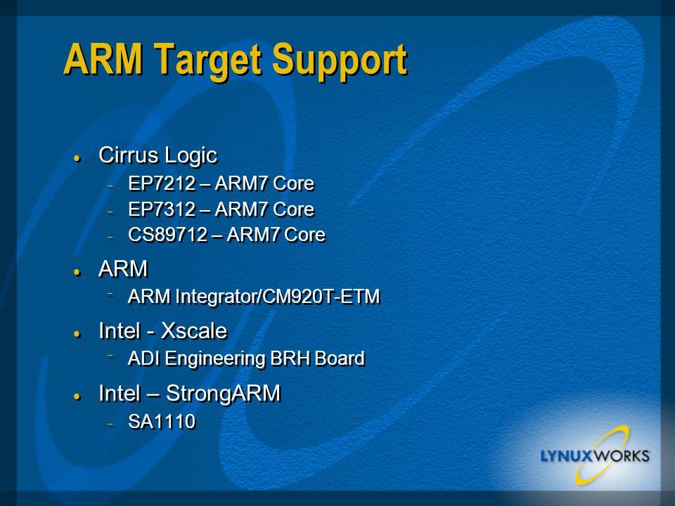 ARM Target Support  Cirrus Logic  EP7212 – ARM7 Core  EP7312 – ARM7 Core  CS89712 – ARM7 Core  ARM  ARM Integrator/CM920T-ETM  Intel - Xscale  ADI Engineering BRH Board  Intel – StrongARM  SA1110  Cirrus Logic  EP7212 – ARM7 Core  EP7312 – ARM7 Core  CS89712 – ARM7 Core  ARM  ARM Integrator/CM920T-ETM  Intel - Xscale  ADI Engineering BRH Board  Intel – StrongARM  SA1110