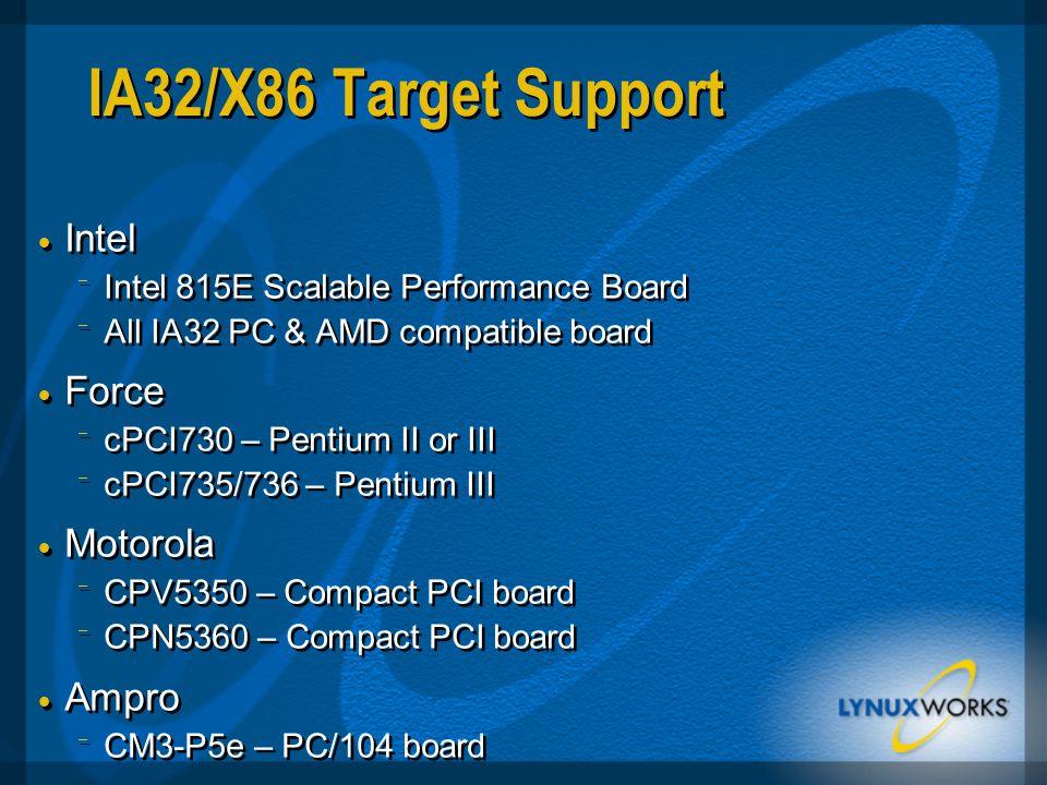 IA32/X86 Target Support  Intel  Intel 815E Scalable Performance Board  All IA32 PC & AMD compatible board  Force  cPCI730 – Pentium II or III  cPCI735/736 – Pentium III  Motorola  CPV5350 – Compact PCI board  CPN5360 – Compact PCI board  Ampro  CM3-P5e – PC/104 board  Intel  Intel 815E Scalable Performance Board  All IA32 PC & AMD compatible board  Force  cPCI730 – Pentium II or III  cPCI735/736 – Pentium III  Motorola  CPV5350 – Compact PCI board  CPN5360 – Compact PCI board  Ampro  CM3-P5e – PC/104 board