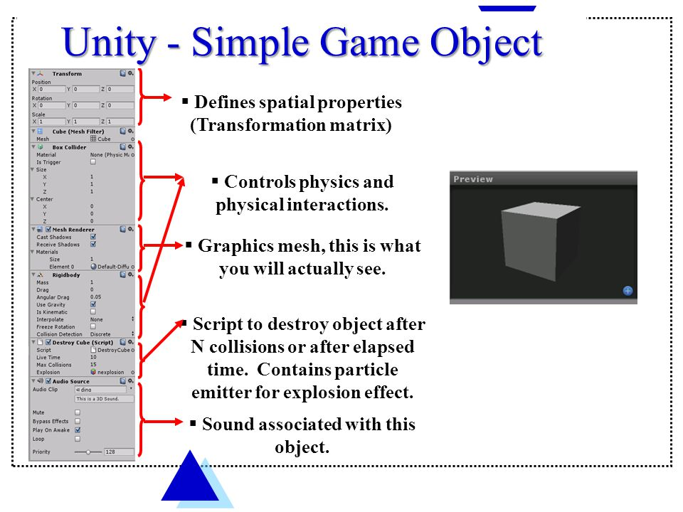  Defines spatial properties (Transformation matrix)  Script to destroy object after N collisions or after elapsed time.
