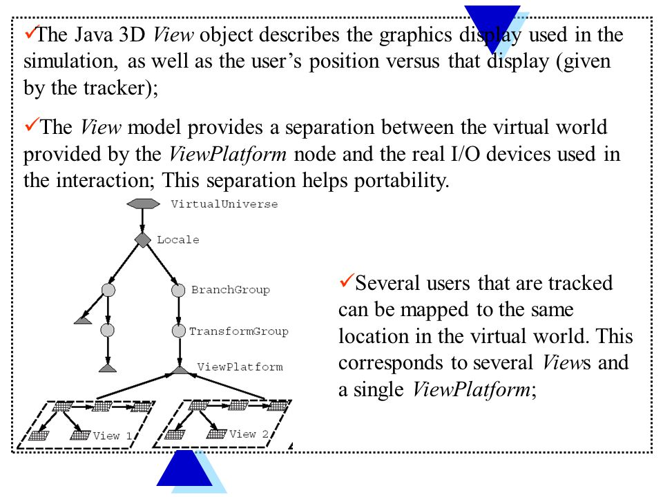 The Java 3D View object describes the graphics display used in the simulation, as well as the user's position versus that display (given by the tracker); The View model provides a separation between the virtual world provided by the ViewPlatform node and the real I/O devices used in the interaction; This separation helps portability.
