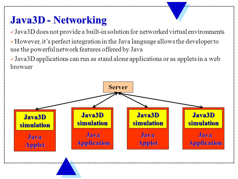 Java3D simulation Java Application Java3D simulation Java Applet Java3D simulation Java Application Java3D - Networking Java3D does not provide a built-in solution for networked virtual environments However, it's perfect integration in the Java language allows the developer to use the powerful network features offered by Java Java3D applications can run as stand alone applications or as applets in a web browser Java3D simulation Java Applet Server