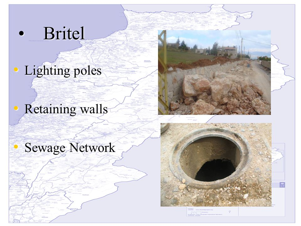 BritelBritel Lighting poles Lighting poles Retaining walls Retaining walls Sewage Network Sewage Network