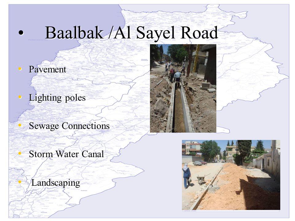 Baalbak /Al Sayel RoadBaalbak /Al Sayel Road Pavement Pavement Lighting poles Lighting poles Sewage Connections Sewage Connections Storm Water Canal Storm Water Canal Landscaping Landscaping