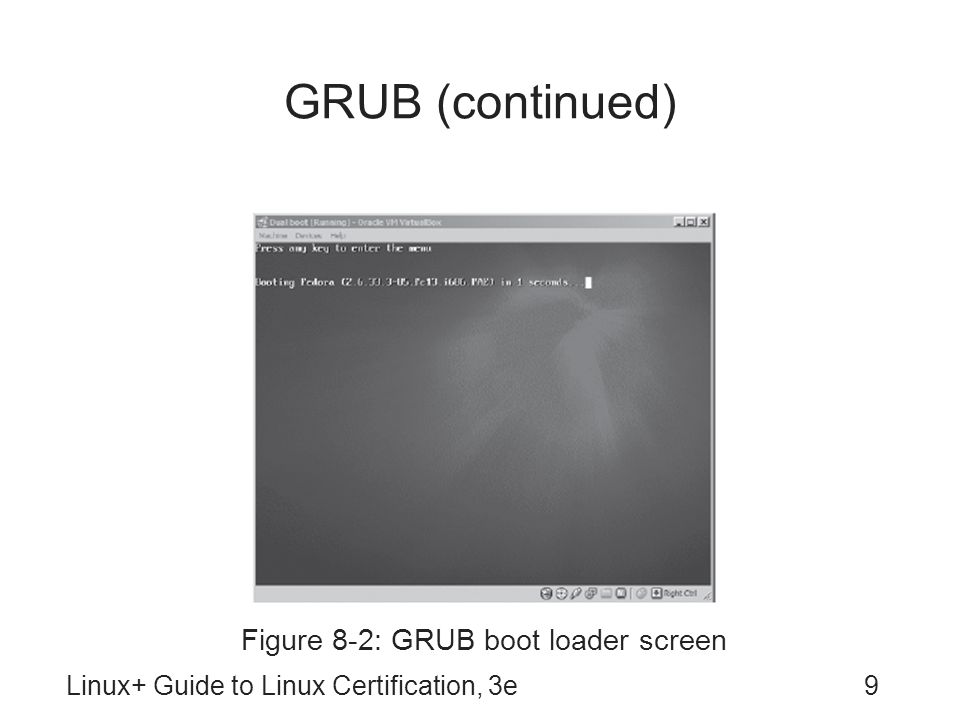 GRUB (continued) To configure, edit /boot/grub/grub.conf –Read directly by Stage2 boot loader –HDDs and partitions identified by numbers Format: (hd, ) GRUB root partition: partition containing Stage2 boot loader and grub.conf file GRUB normally allows manipulation of boot loader –To prevent, enable password protection grub-md5-crypt command: generates encrypted password for use in grub.conf file Linux+ Guide to Linux Certification, 3e10