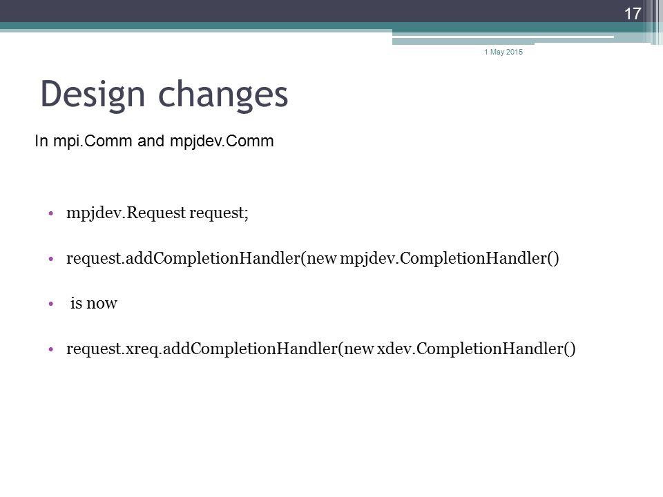 Design changes mpjdev.Request request; request.addCompletionHandler(new mpjdev.CompletionHandler() is now request.xreq.addCompletionHandler(new xdev.C