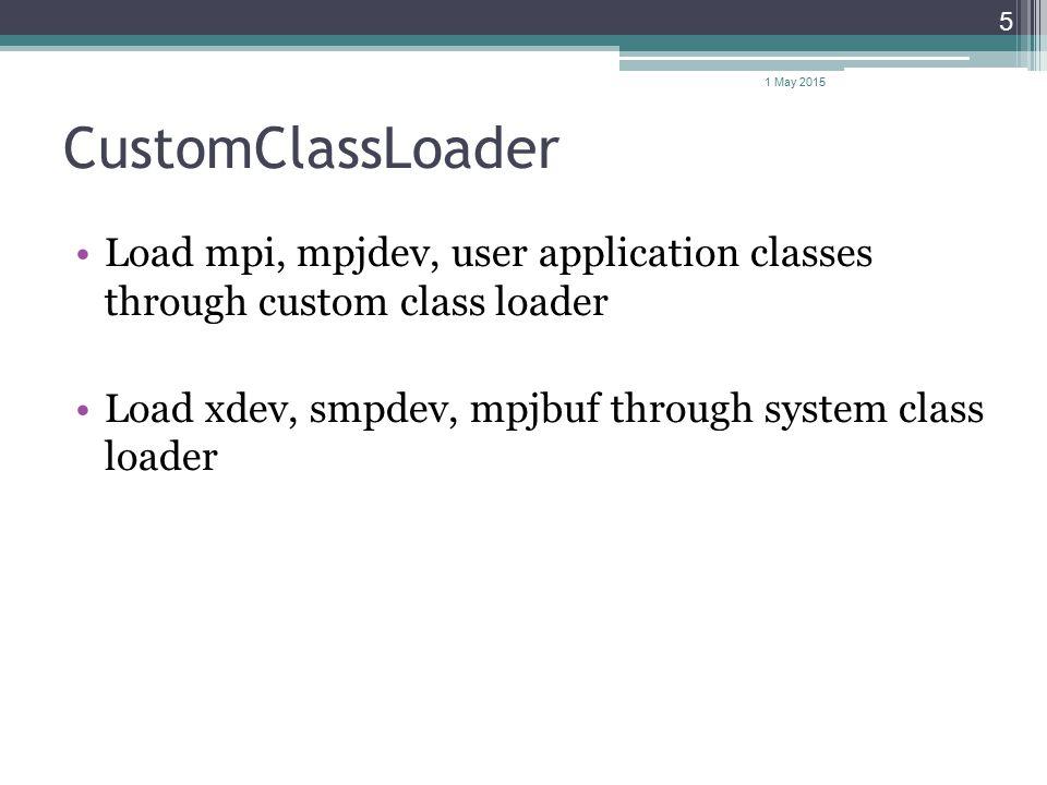 CustomClassLoader Load mpi, mpjdev, user application classes through custom class loader Load xdev, smpdev, mpjbuf through system class loader 1 May 2
