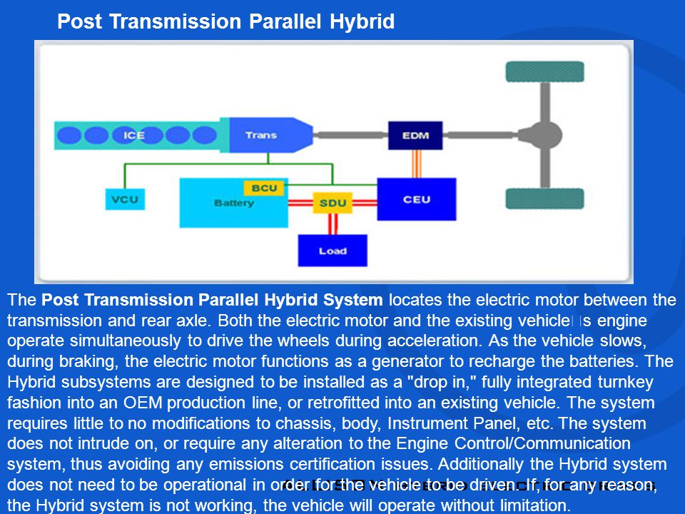 The Post Transmission Parallel Hybrid System locates the electric motor between the transmission and rear axle.