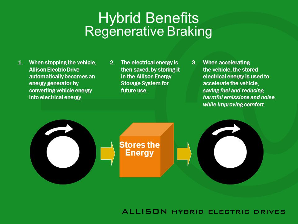 Hybrid Benefits Regenerative Braking 1.When stopping the vehicle, Allison Electric Drive automatically becomes an energy generator by converting vehicle energy into electrical energy.