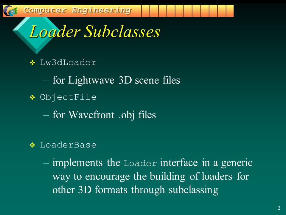 2   Lw3dLoader – –for Lightwave 3D scene files   ObjectFile – –for Wavefront.obj files   LoaderBase – –implements the Loader interface in a generic way to encourage the building of loaders for other 3D formats through subclassing Loader Subclasses
