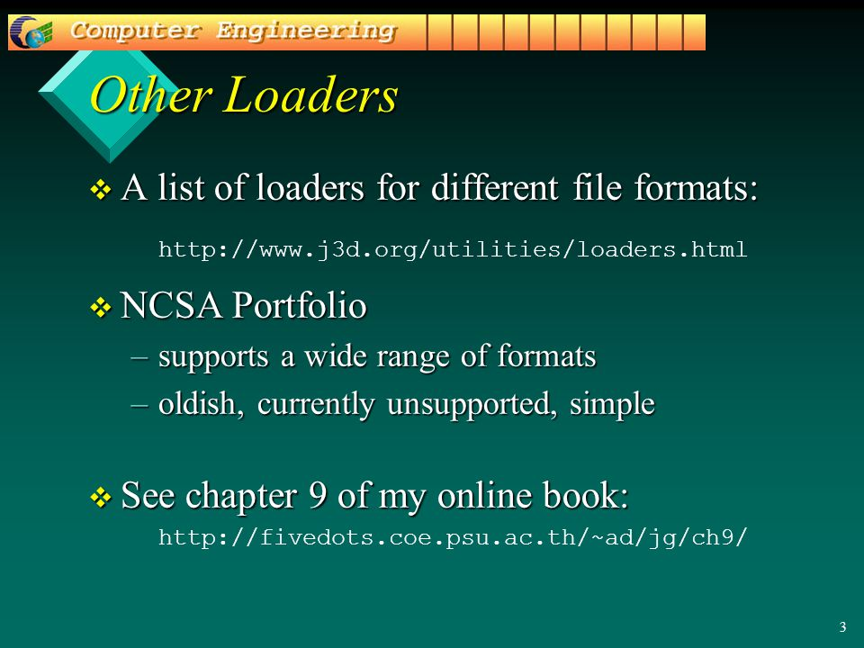 3 Other Loaders v A list of loaders for different file formats: http://www.j3d.org/utilities/loaders.html v NCSA Portfolio –supports a wide range of formats –oldish, currently unsupported, simple v See chapter 9 of my online book: http://fivedots.coe.psu.ac.th/~ad/jg/ch9/