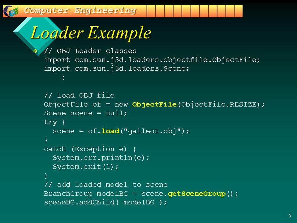 5 Loader Example v v // OBJ Loader classes import com.sun.j3d.loaders.objectfile.ObjectFile; import com.sun.j3d.loaders.Scene; : // load OBJ file ObjectFile of = new ObjectFile(ObjectFile.RESIZE); Scene scene = null; try { scene = of.load( galleon.obj ); } catch (Exception e) { System.err.println(e); System.exit(1); } // add loaded model to scene BranchGroup modelBG = scene.getSceneGroup(); sceneBG.addChild( modelBG );