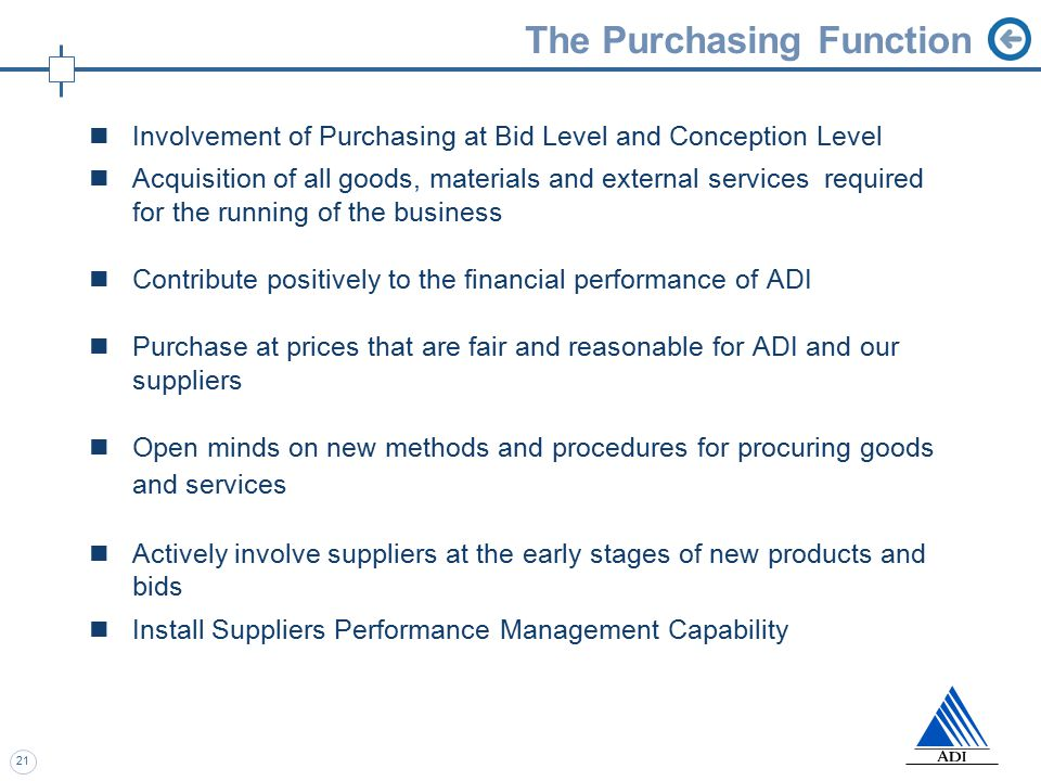 21 The Purchasing Function Involvement of Purchasing at Bid Level and Conception Level Acquisition of all goods, materials and external services required for the running of the business Contribute positively to the financial performance of ADI Purchase at prices that are fair and reasonable for ADI and our suppliers Open minds on new methods and procedures for procuring goods and services Actively involve suppliers at the early stages of new products and bids Install Suppliers Performance Management Capability