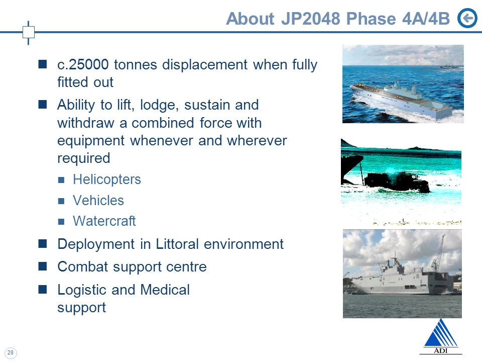 28 About JP2048 Phase 4A/4B c.25000 tonnes displacement when fully fitted out Ability to lift, lodge, sustain and withdraw a combined force with equipment whenever and wherever required Helicopters Vehicles Watercraft Deployment in Littoral environment Combat support centre Logistic and Medical support