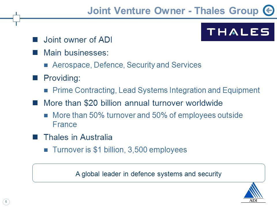 5 Joint Venture Owner - Thales Group Joint owner of ADI Main businesses: Aerospace, Defence, Security and Services Providing: Prime Contracting, Lead Systems Integration and Equipment More than $20 billion annual turnover worldwide More than 50% turnover and 50% of employees outside France Thales in Australia Turnover is $1 billion, 3,500 employees A global leader in defence systems and security