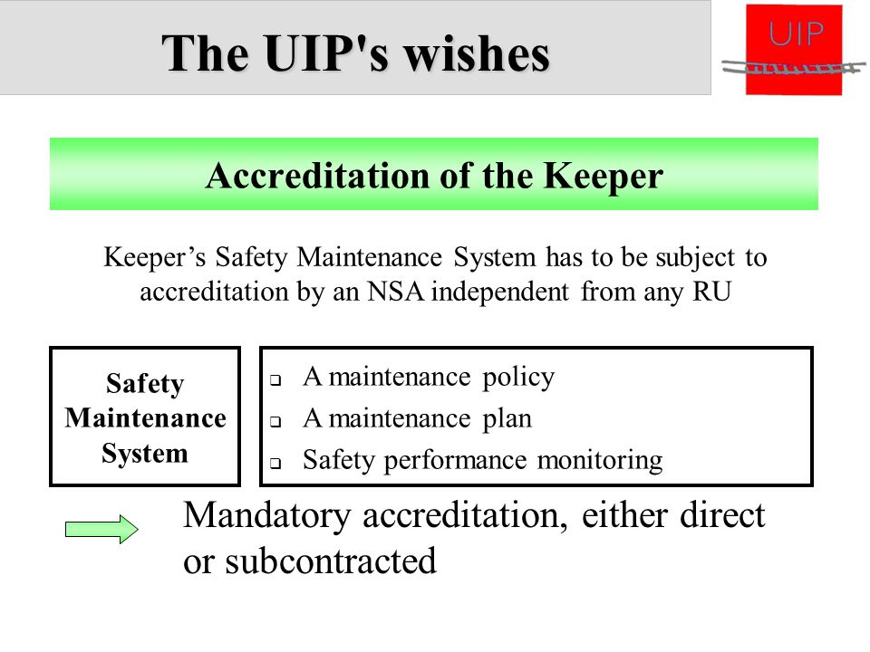 The UIP's wishes  A maintenance policy  A maintenance plan  Safety performance monitoring Accreditation of the Keeper Safety Maintenance System Man