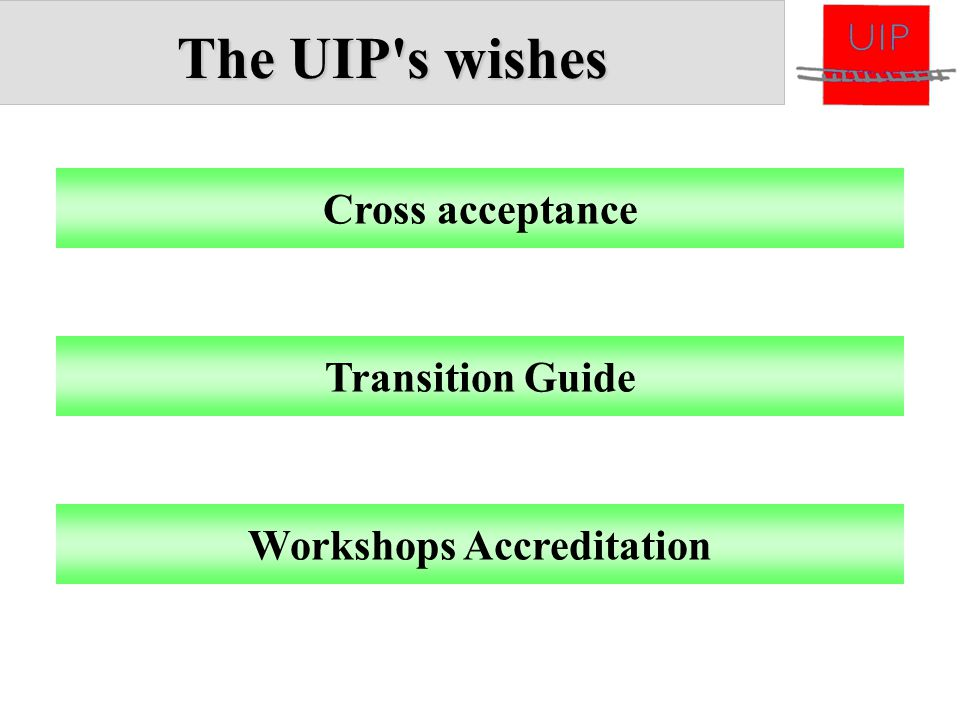 The UIP's wishes Cross acceptance Transition Guide Workshops Accreditation