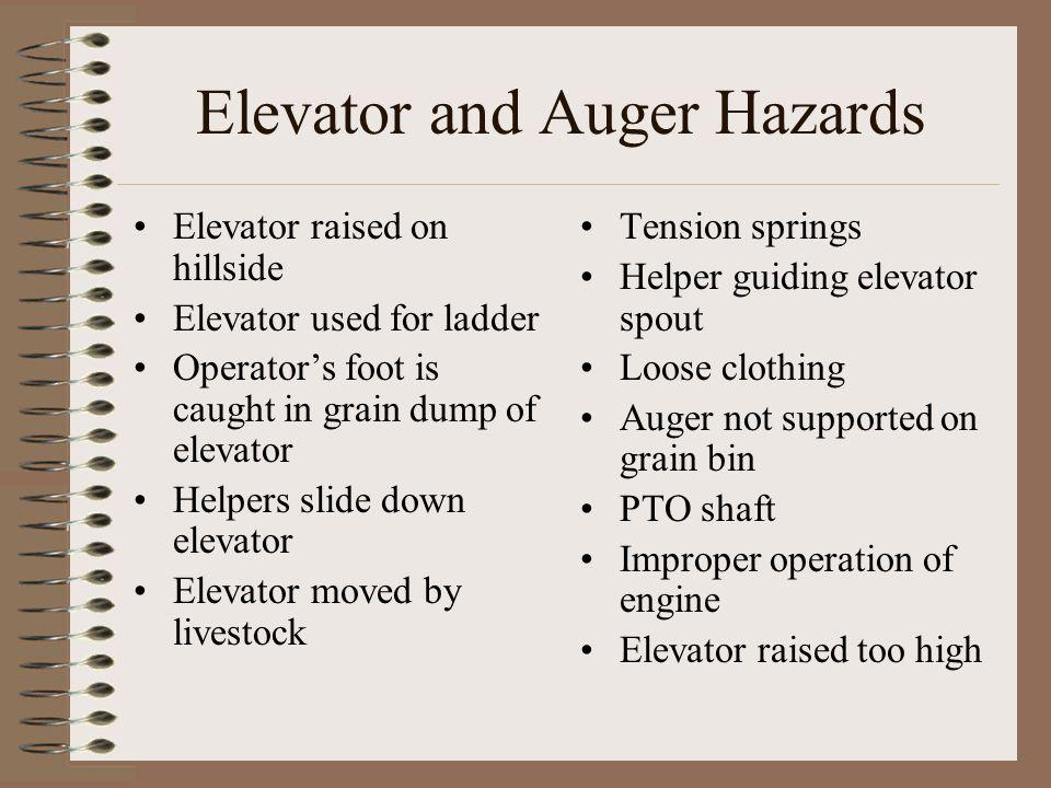 Elevator and Auger Hazards Elevator raised on hillside Elevator used for ladder Operator's foot is caught in grain dump of elevator Helpers slide down